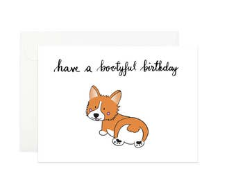 Corgi greeting card | Have a bootyful birthday | Birthday card