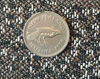 New Zealand 1956 Six Pence