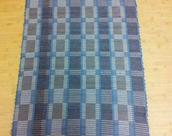 Handwoven Rag Rug - Slate Blue and Taupes
