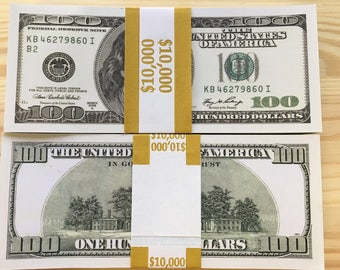 10 Pieces Invalid 100 Dollars Bill Training Old Style Banknotes Prop Money For Games Movies Worth 1000 Dollars KB-series