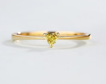 Solitaire Heart Shaped Yellow Diamond Engagement ring Minimalist Wedding ring women Simple Thin Dainty diamond ring Promise Anniversary
