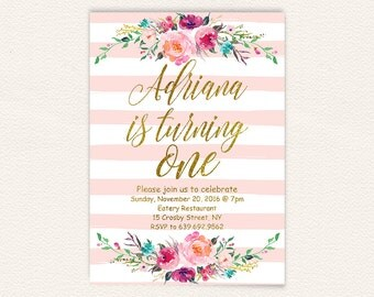 Floral 1st birthday invitation pink and gold, first birthday invitation girl,  gold glitter blush pink stripes digital invitations 6a