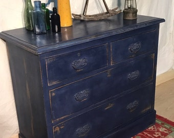Beautiful Blue distressed solid pine chest of drawers