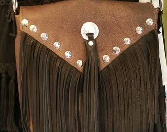 Dark Brown/Black Leather Fringe Handbag/Leather Fringe Bag/Handcrafted Leather Fringe Bag/Western Leather Purse/Fringe Leather/Handcrafted