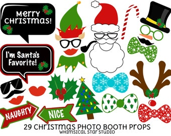 Christmas Photo Booth Props - 29 Printable Props, Christmas Party Props, Santa, Elf, Reindeer, Signs, xmas tree, INSTANT DOWNLOAD PDF