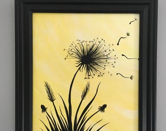 Maine - Framed Silhouette painting of Dandelion Blowing in Wind - art