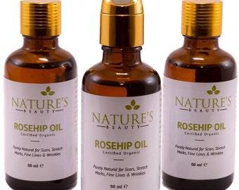 Rosehip Oil, Pure Natural, 100% Organic 50ml (1.69 oz)
