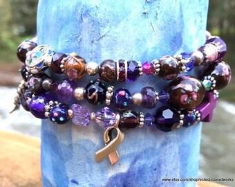 Pancreatic Cancer Awareness Bracelet,Cancer Awareness,February Birthday Color,Cancer Ribbon,Beaded Bracelet,Purple,Magnetic Clasp,Cross,Her