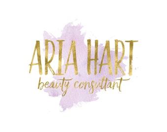 Makeup Artist Logo / Beauty Logo / Watercolor Logo / Purple Logo / Gold Logo / Photography Logo and Watermarks / Feminine Logo / Blog Logo