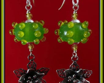 Green Dottie Earrings with Silver Filagree Flowers