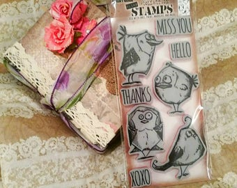 Tim Holtz Stampers Anonymous ~Bird Crazy~ Cling Stamp Set