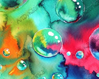 Original Watercolor Painting, Bubbles Art, Handmade painting,Anniversary, Birhday gift, Wall Art, Home Decor, Painting Art, Paintig Gift