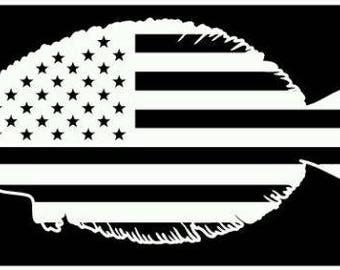 American flag  flounder fishing vinyl sticker decal