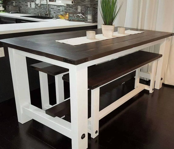 Dining Table Storage Bench: Kona Handmade Farmhouse Dining Table With 2 Benches