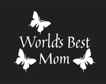 Worlds best mom 6.0 inch wide (WHITE) Decal / sticker cute for cars , trucks, laptops windows and more.