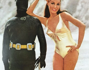 JULIE NEWMAR COPPERTONE Suntan Lotion Ad-Van Heusen Passport 360 Cologne Ad-Diver And Gold Bathing Suit On Beach
