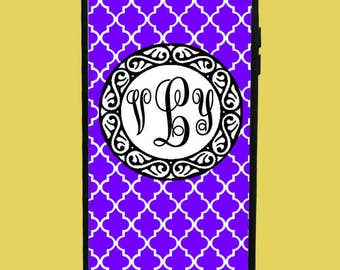 Purple Design Phone Case with 3 initials.  Customized Name. Monogrammed Case. Personalized.