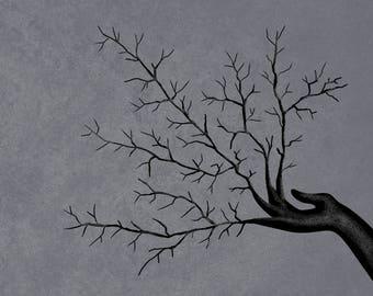 Growing hand - Art print, Wall Art, Wall Decor, Dark art