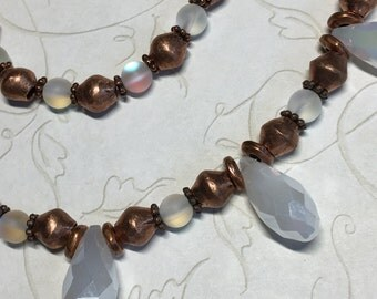 Copper and moonstone beaded necklace with white crystal briolettes