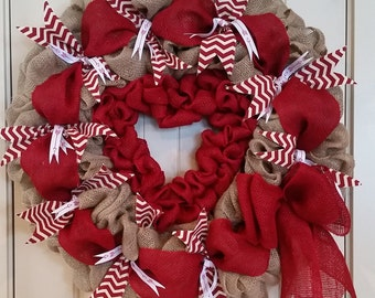 Large Valentine Wreath! //Valentines Day Decor //Red and white burlap wreath with red insert heart.// Heart Wreath // Gifts for Mom //