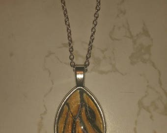 Orange and black wing necklace