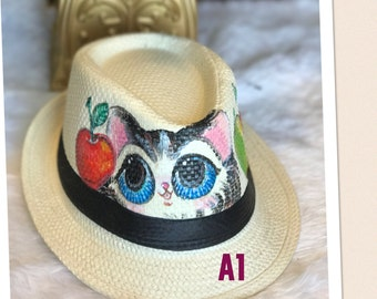 Cute Cat hand painted hat