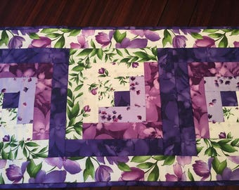 Spring and summer purple floral table runner