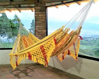 Hammock, yellow hammock, Hand Woven 100% Cotton with hand made Bell Fringe. Outdoor hammock. Doble hammock