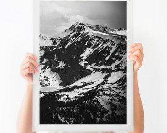 Black and White Abstract Mountain Photograph, Printable Photography, Instant Download, Printable Nature Art, Large Poster, Home Decor