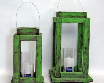 Pair of Green Wooden Lanterns LED Battery Candle
