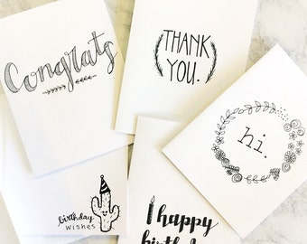 Everything Greeting Cards- set of 5, Hand Drawn Cards, Black and White
