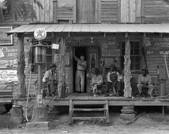 Dorothea Lange Fine Art Photography, Black and White Photography, Wall Art Print- Country store, Gordonton, North Carolina, 1939