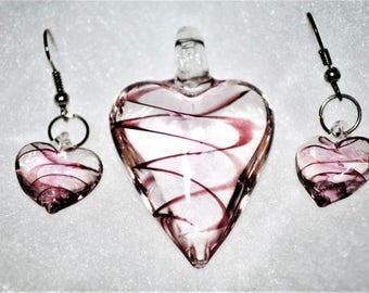 Murano Glass Heart Jewelry Set - Murano Jewelry - Murano Earrings - Glass Pendant -  Heart Earrings - Heart Pendant - FREE Shipping