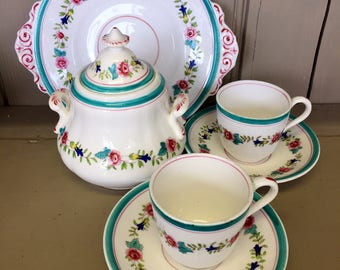 A Vintage Part Coffee Set Hand-painted in Turquoise and Pink