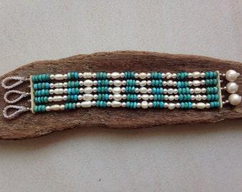 Arizona Turquoise Fresh Water Pearls Swarovski Beaded Bracelet Cuff Multistrand