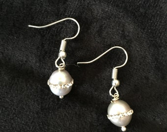 Frosted Silverball Earrings Encircled in Tiny Rhinestones