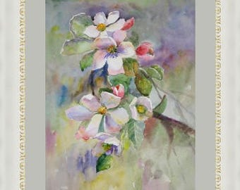 Apple Blossoms Flower painting Watercolor Painting Original Watercolour Blossom tree  Florals painting Home decor  Spring flowers