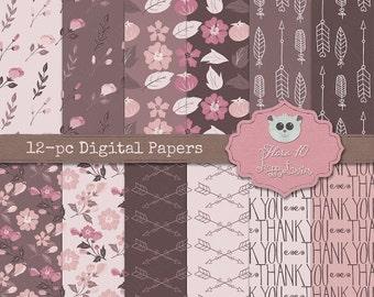 80% OFF! - Digital Papers Flora 10 Flowers Floral Rose Tones