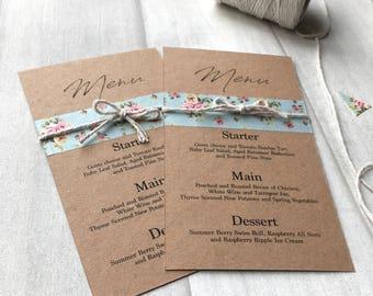 Bespoke Wedding Menu Cards Rustic Floral Design