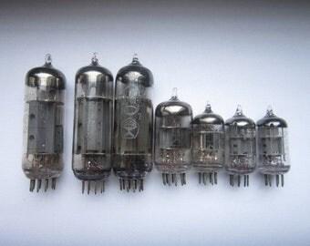 Lot of 7 Vintage Vacuum Tubes Tv Electron Tubes Vintage  valves Soviet vintage lamps Glass Vacuum Tubes old Vacuum Tubes Vintage Radio lamp