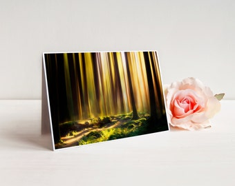 "Summer Woods Greeting Card (with envelope), Notecard, A7 5x7"", Gold Forest Landscape 