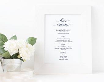 Bar menu Sign Template, Drink menu Sign Printable, Bar menu sign, Wedding Sign Template, Editable Template Word Download, The Sapphire suite