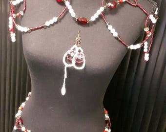 Shoulder hip necklace, earrings and necklace