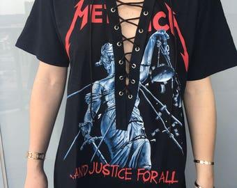 Metallica Lace Up T Shirt