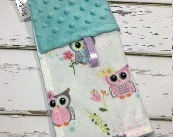 owl lovey blanket Girl Lovey blanket Security blanket Baby girl blanket Baby shower gift Girl shower gift double minky blanket minky lovey