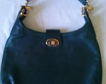 Celine, Dark Green Leather Bag. Authentic.