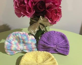 READY TO SHIP - Turban Beanie - newborn Size - handmade - crochet