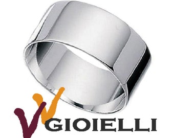 Rhodium-plated sterling silver 925 ring wide band band faith 10 mm promo man woman