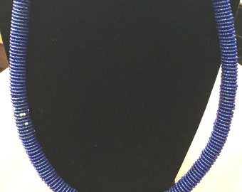 Beaded navy blue necklace with silver accents