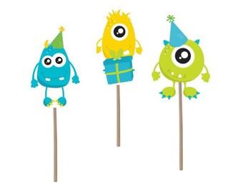 Monster Cupcake Topper, Monster Birthday cupcake topper, monster theme party, monster picks, monster theme, monster birthday, party supplies